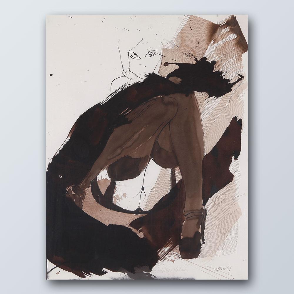 Das umbrische Mädchen 6, 2018, Tusche auf Bütten, 76 x 57 cm